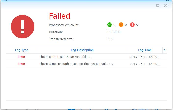 Synology Active Backup for Business error: there is not enough space left on the system volume