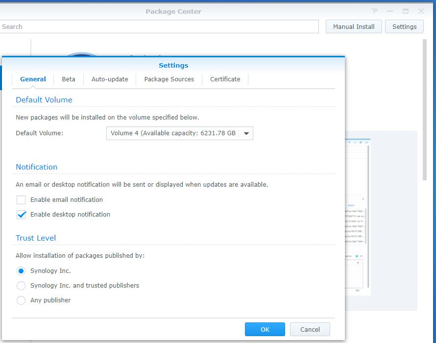 Change installation location of Synology Packages