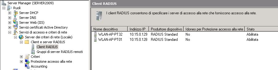Windows Server 2008 Radius Clients list